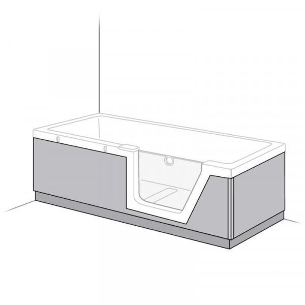 Duscholux Step-In Pure Schürze PanElle, Front- und Rückenteil für 608300100 L: 170 B: 75 cm