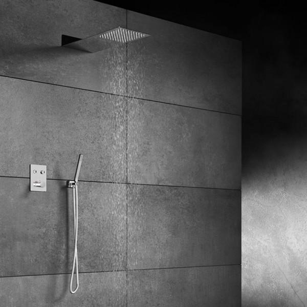 "Steinberg Sensual Rain Duschsystem mit ""Wall Rain"" Regenbrause & Thermostat, eckig"