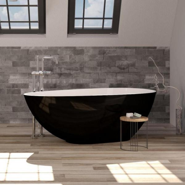 Treos Serie 700 freistehende Mineralguss Badewanne schwarz 170 x 87 x 50 cm