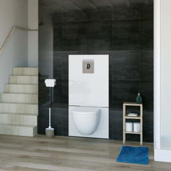 SFA SANIWALL Pro UP kurz WC-Kleinhebeanlage Montagerahmen mit Glasverkleidung (Schienensystem)
