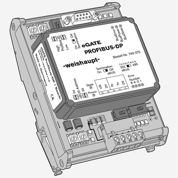 Weishaupt Set eGATE eBUS auf PROFIBUS-DP Datenprotokoll-Umsetzer