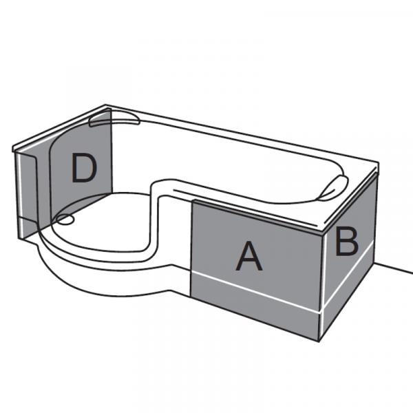 Artweger Twinline 1 Schürzen Set 04 für Duschtür mit Seitenwand