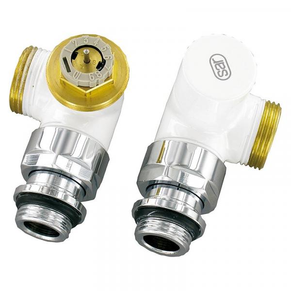 Design-Thermostatventil-Set Winkeleckform D 3933 DN15 (1/2'') AG 3/4'' (Eurokonus), Weiß (RAL 9016)