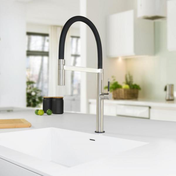 PREMIUM 300 Steel Küchenarmatur, mit flexiblem Auslauf mit Schlauch, Höhe 50 cm, 5 Jahre Garantie