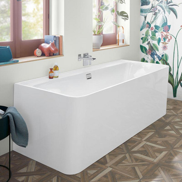 Villeroy & Boch Collaro Vorwand-Badewanne mit Verkleidung 180x80 cm weiß/weiß, Ab-/Überlaufgarnitur