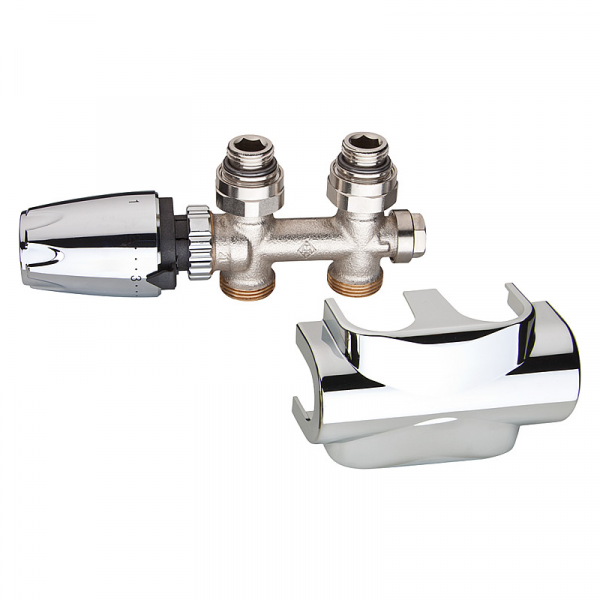 Heimeier Multilux Ventilset Durchgang inkl. DesignLine Verkleidung,Thermostatkopf DX, Chrom