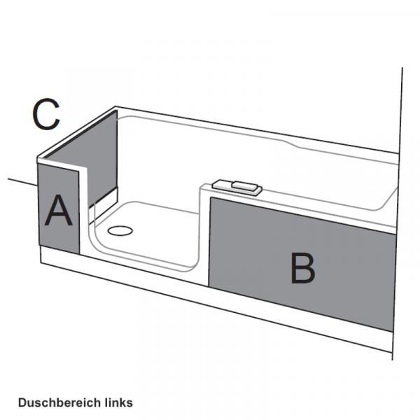 Artweger Twinline 2 Schürzen links 03 Eckeinbau mit Seitenwand