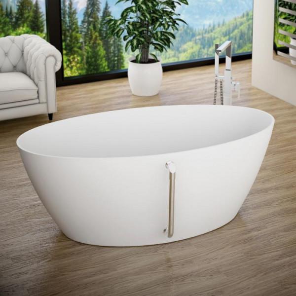 Treos Serie 710 freistehende Mineralguss Badewanne 160 x 80 x 45,1 cm