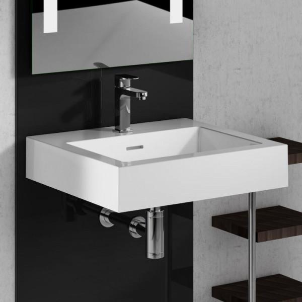Treos Serie 710 Mineralguss Handwaschbecken mit 1 Hahnoch 50 x 45 cm