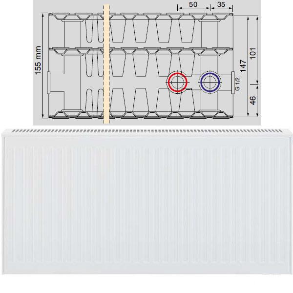 Viessmann Universalheizkörper Typ 33 dreireihig mit drei Konvektoren