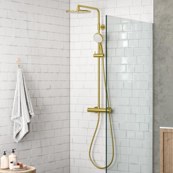 Damixa Silhouet Duschsystem messing gebürstet mit Thermostat