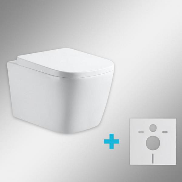 PREMIUM 100 Wand-Tiefspül-WC-SET mit Montagezubehör, spülrandlos, eckig, mit WC-Sitz