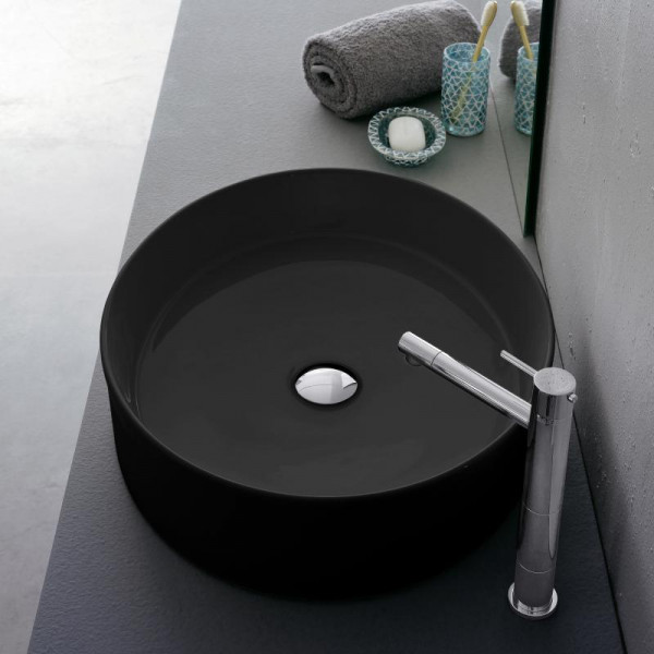 Scarabeo Wind Aufsatzwaschbecken schwarz mit BIO System