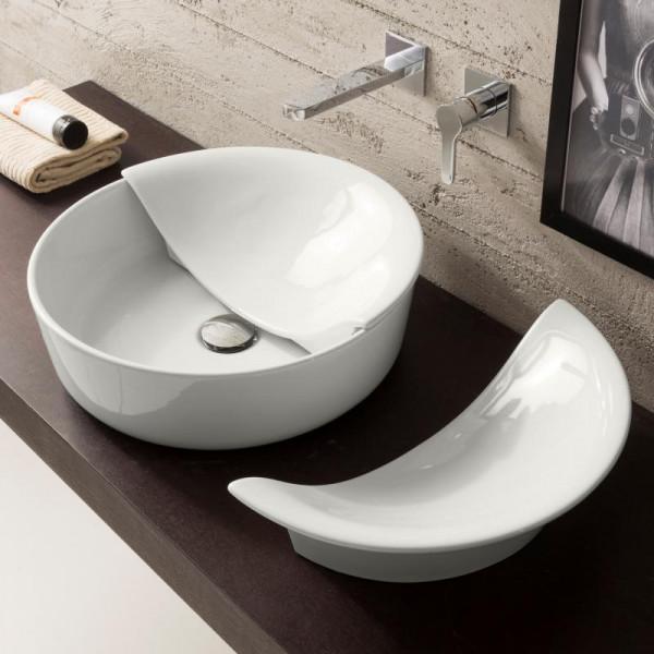 Scarabeo Mizu + Cover Aufsatzwaschbecken weiß 45 x 15 cm