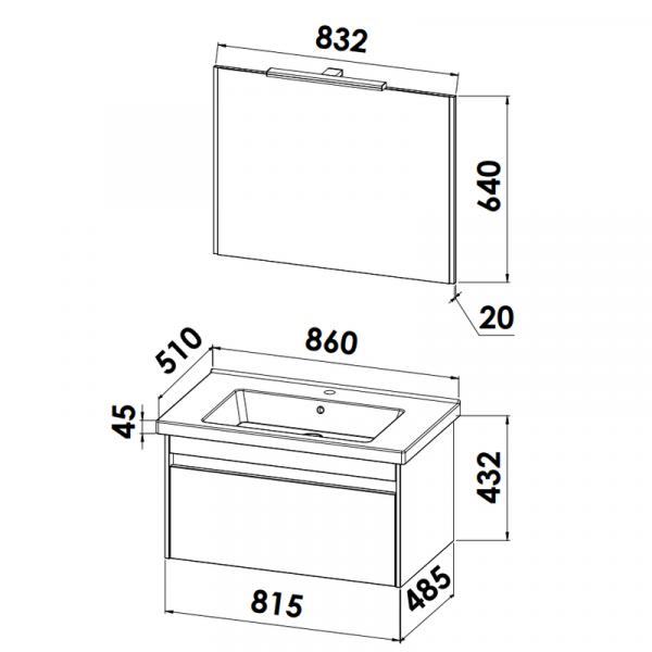 CreativBad Badmöbelgruppe KERA.trend Standard-Ausführung Planungsmaß 86 cm