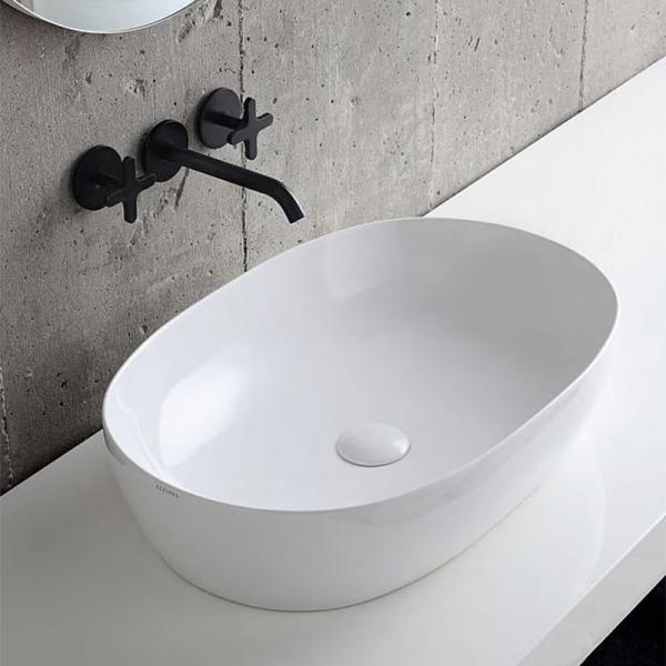 Azzurra Aufsatz-Waschtisch Clas+ 600x400 mm aus Keramik, weiß ohne Hahnloch