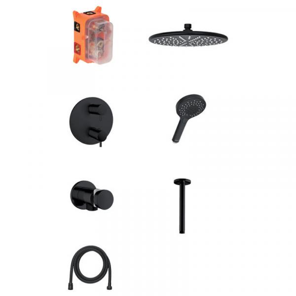 Damixa Silhouet HS2 Unterputz-Duschsystem mattschwarz, Thermostat