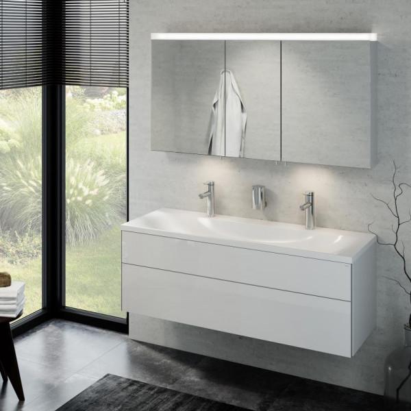 Keuco Royal Reflex Doppelwaschtisch mit Waschtischunterschrank und LED-Spiegelschrank Front weiß hoc