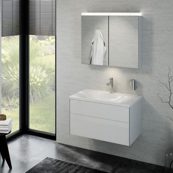 Keuco Royal Reflex Waschtisch mit Waschtischunterschrank und LED-Spiegelschrank Front weiß hochglanz