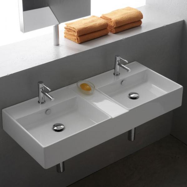 Scarabeo Teorema R Doppel-Aufsatz- oder Hängewaschbecken 106 x 46 cm weiß