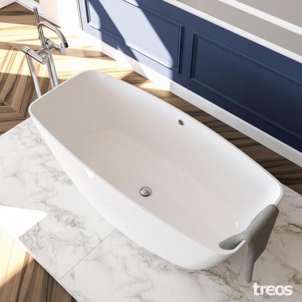 Treos Serie 710 freistehende Mineralguss Badewanne 1565 x 700 x 565 mm