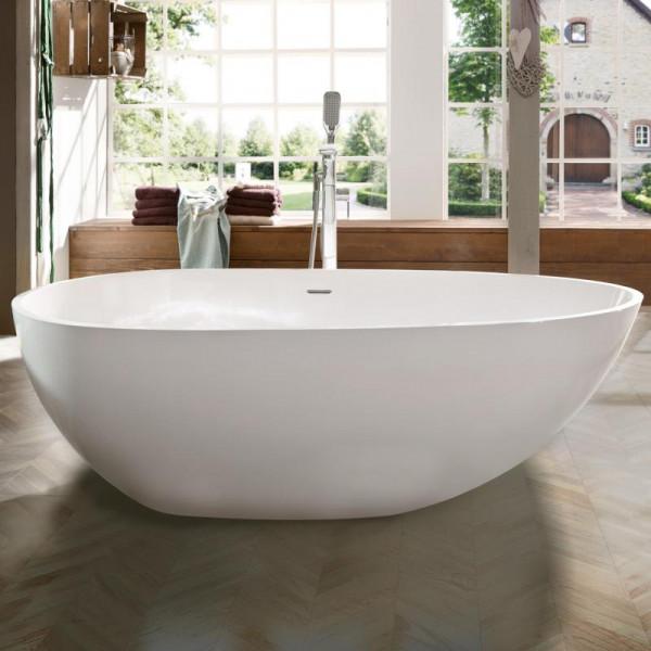 Treos Serie 700 freistehende Mineralguss Badewanne weiß 1700 x 850 x 585 mm