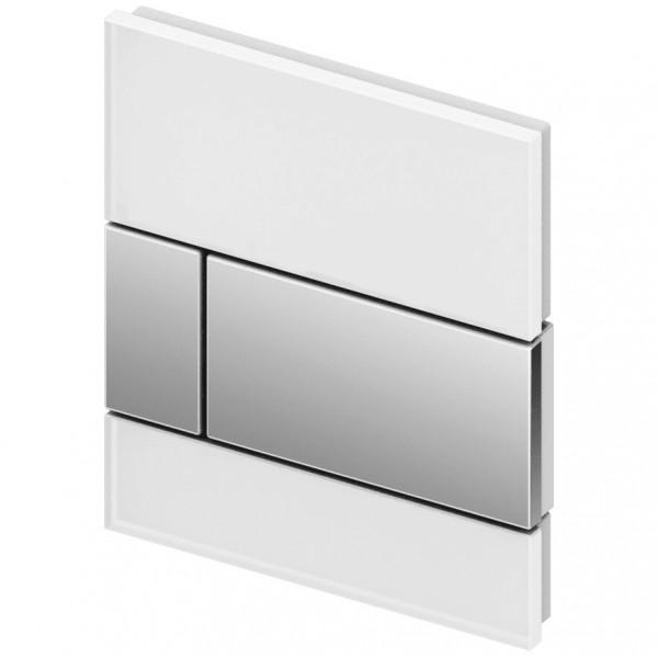 TECE square Glas Urinal-Betätigungsplatte inkl. Kartusche weiß/chrom