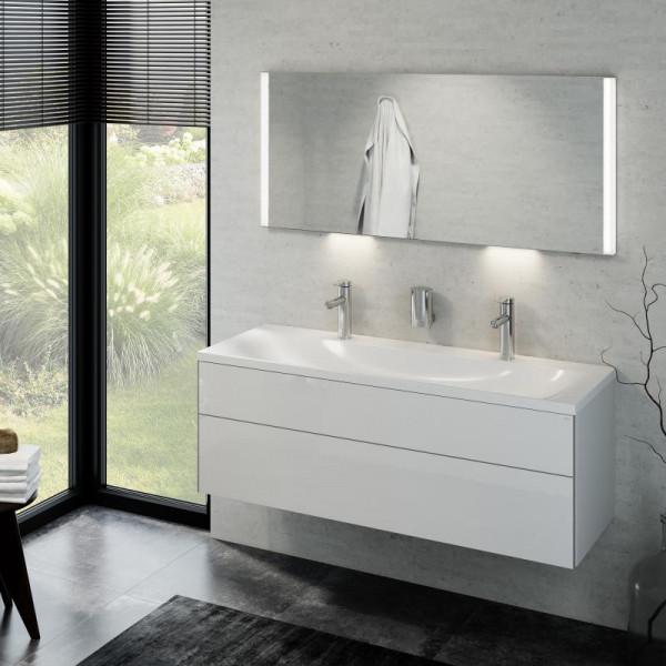 Keuco Royal Reflex Doppelwaschtisch mit Waschtischunterschrank und LED-Lichtspiegel Front weiß hochg