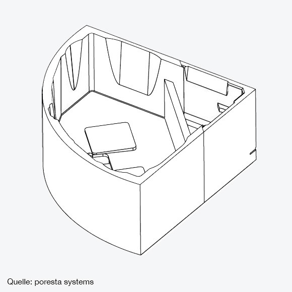poresta systems Poresta Compact Wannenträger Riho Austin 1450x1450 mm