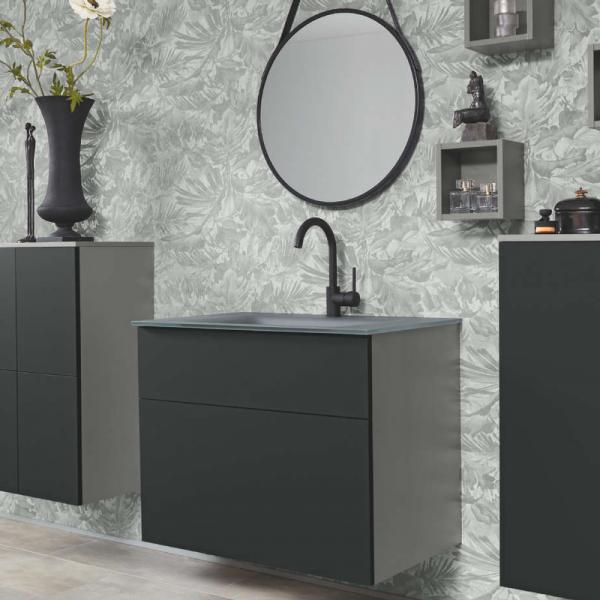 Badea Classic Vario Badmöbelset 80 cm Schwarz matt mit Spiegel