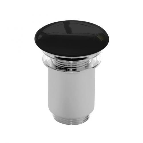 Scarabeo click-clack Ablaufventil mit keramischer Abdeckung, mit Überlaufanschluss schwarz