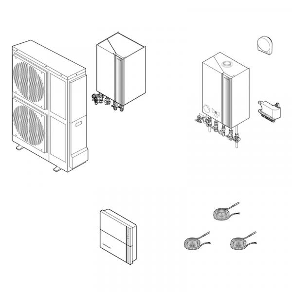 Weishaupt Hybridanlagen Paket Gas-Brennwertgerät WTC-GW 25-B W undLuft/Wasser-Wärmepumpe Split WWP L