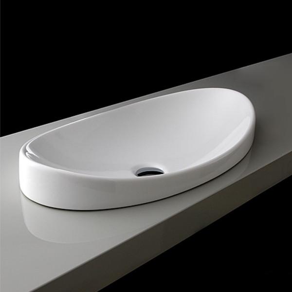Design-Einbau-Waschbecken SPOOL 650 x 145 x 350 mm weiß