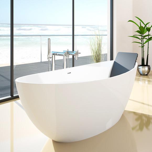 Hoesch NAMUR Freistehende Oval-Badewanne weiß 180 x 90 cm