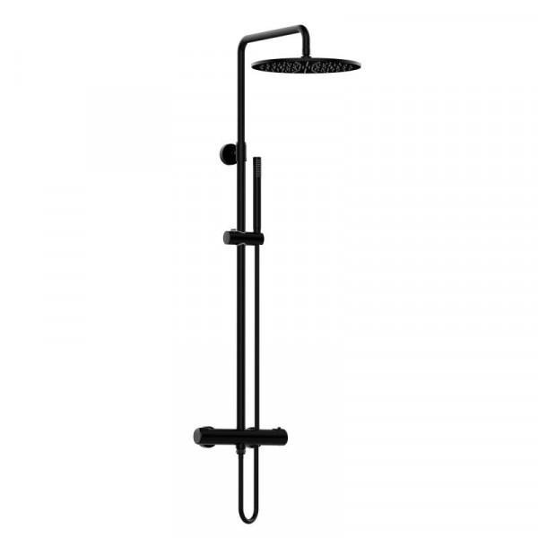 PREMIUM 100 Duschsystem mit Thermostat-Brausebatterie schwarz matt