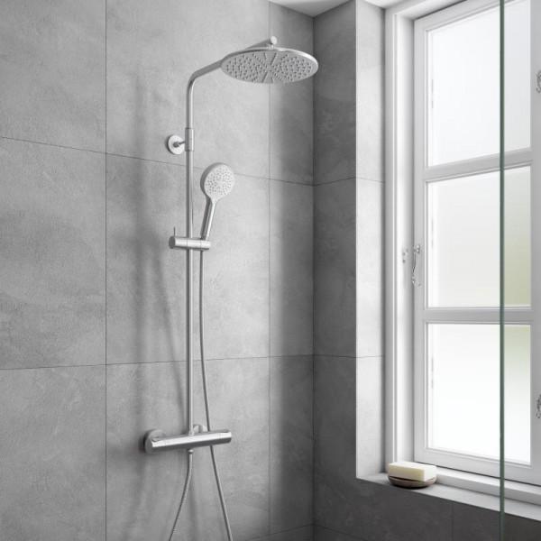 Damixa Silhouet Thermostat Duschsystem mit Metallbrauseschlauch edelstahl gebürstet/weiß