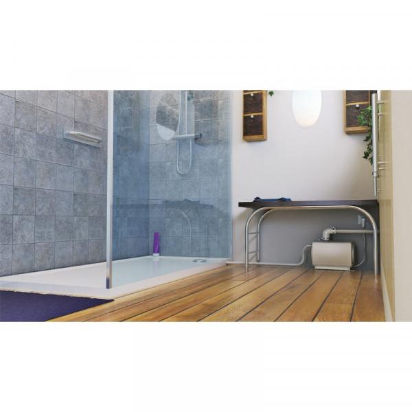 SFA Schmutzwasserhebeanlage Sanifloor+ Tray Komplettlösung 100x80 cm Pumpe rechts