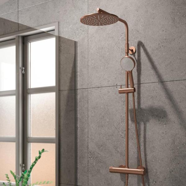 Damixa Silhouet Thermostat Duschsystem mit Metallbrauseschlauch kupfer gebürstet/weiß
