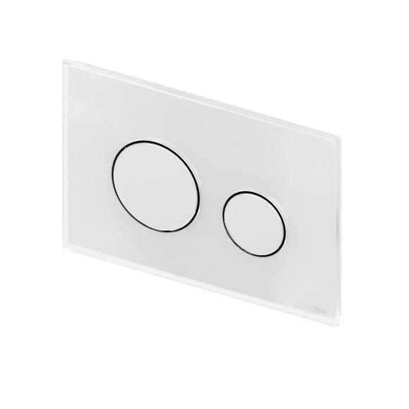 TECE loop Glas WC-Betätigungsplatte für 2-Mengen-Technik weiß