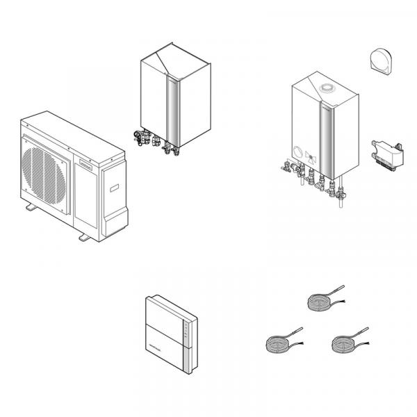 Weishaupt Hybridanlagen Paket Gas-Brennwertgerät WTC-GW 15-B W undLuft/Wasser-Wärmepumpe Split WWP L