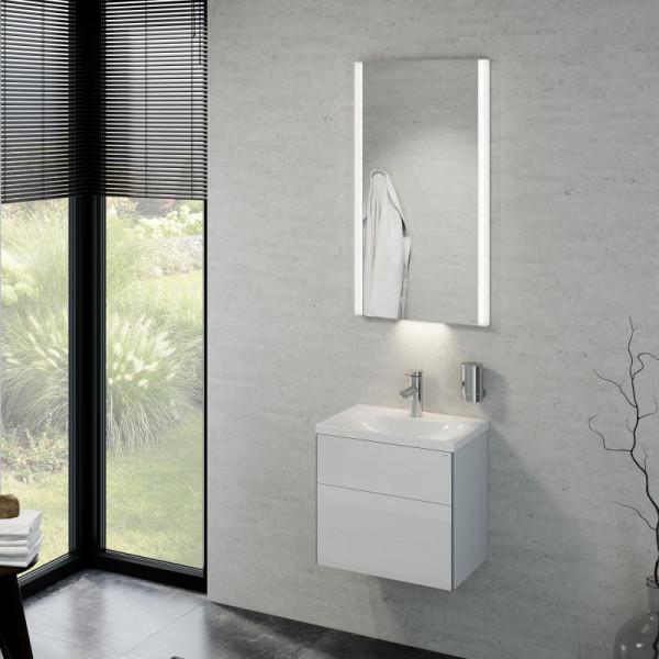Keuco Royal Reflex Waschtisch mit Waschtischunterschrank und LED-Lichtspiegel Front weiß hochglanz /