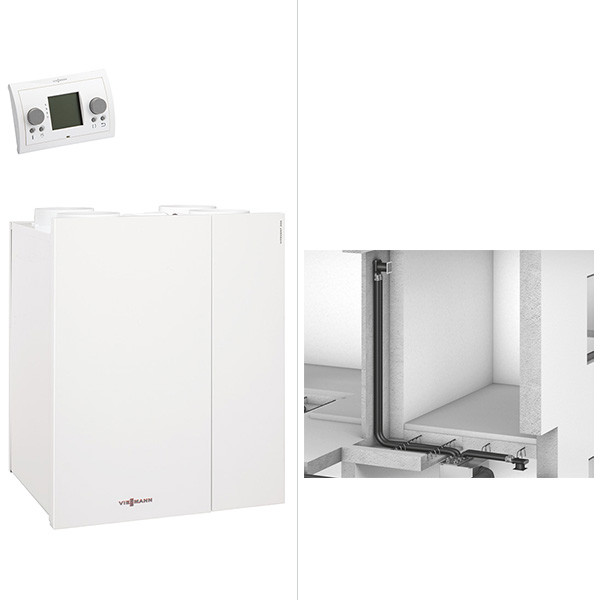 Viessmann Paket Vitovent 300-W Rundkanal DA75 170 qm Wohnfläche