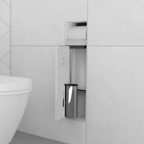 ESS Container T-ROLL Einbau WC - Bürstenhalter und Papierhalter für Nass- und Trockenbau, befliesbar